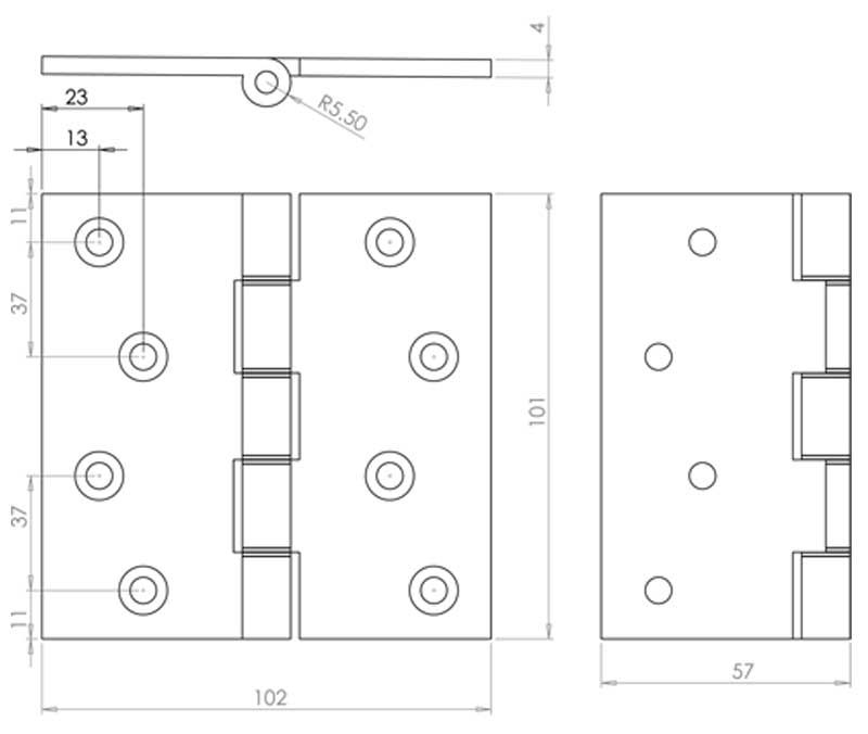 4 Inch Projection Hinge - Steel - Polished Brass - MHPP001