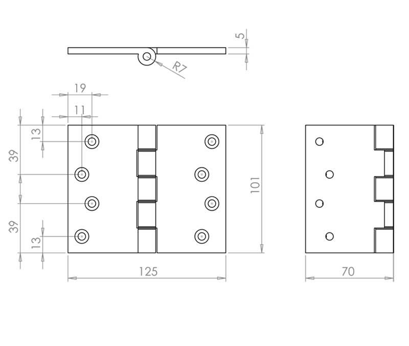 4 Inch Projection Hinge - Steel - Polished Brass - MHPP004