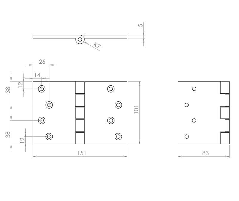 4 Inch Projection Hinge - Steel - Polished Brass - MHPP007