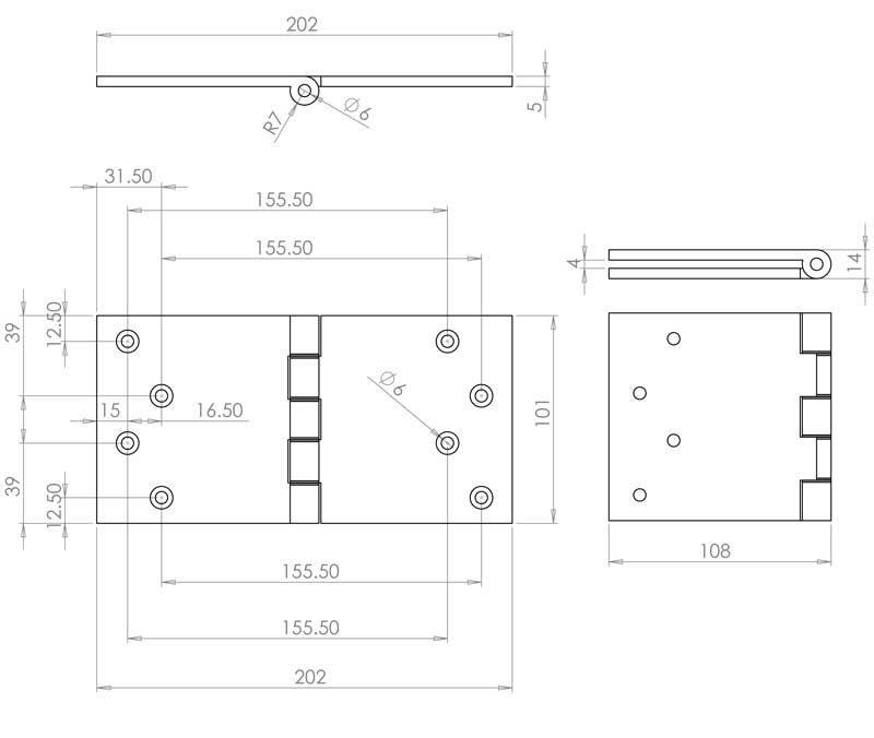 4 Inch Projection Hinge - Steel - Polished Brass - MHPP010