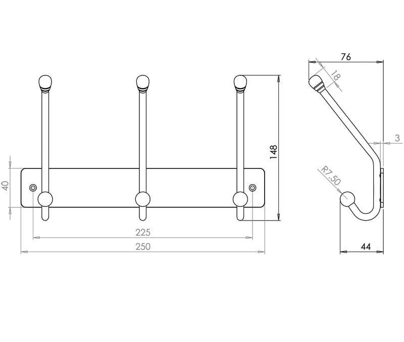 3 Hook Coat Rack - Stainless Steel - Satin - MHHK018