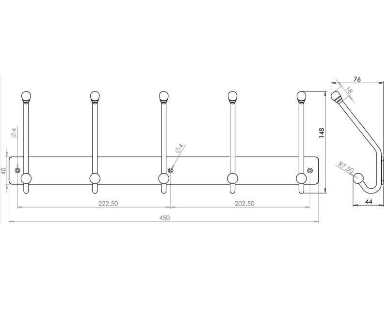 5 Hook Coat Rack - Stainless Steel - Satin - MHHK019