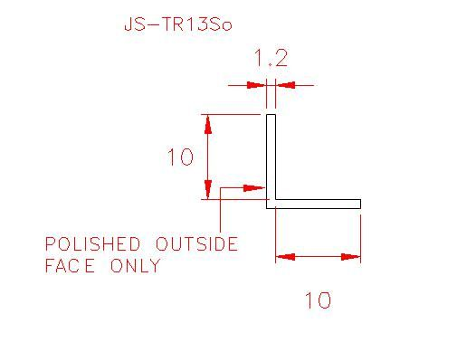 Angle Trim - Stainless Steel - Satin Outside - 304 - JS-TR13So