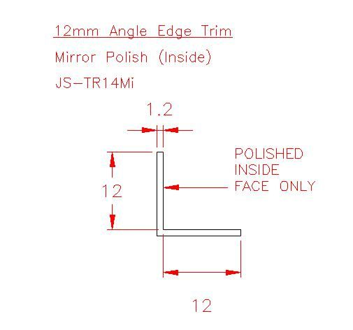 Angle Trim - Stainless Steel - Mirror Inside - 304 - JS-TR14Mi