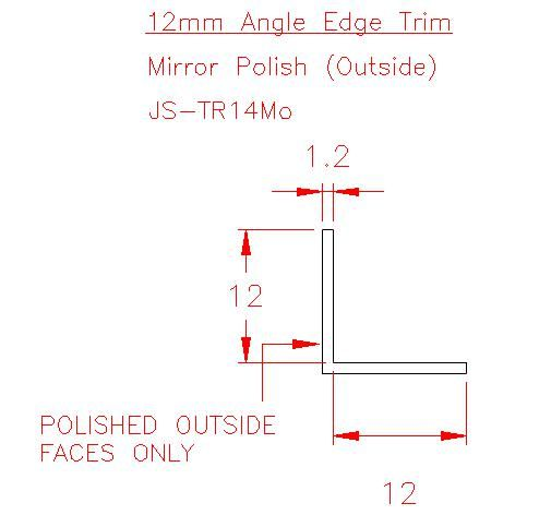 Angle Trim - Stainless Steel - Mirror Outside - 304 - JS-TR14Mo
