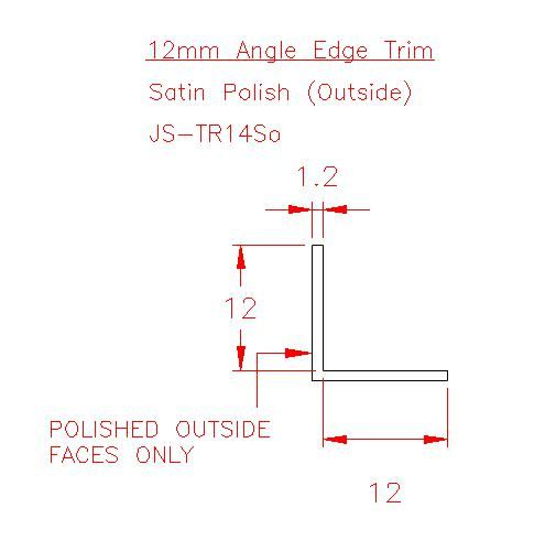 Angle Trim - Stainless Steel - Satin Outside - 304 - JS-TR14So