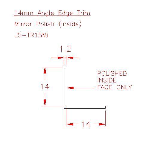 Angle Trim - Stainless Steel - Mirror Inside - 304 - JS-TR15Mi