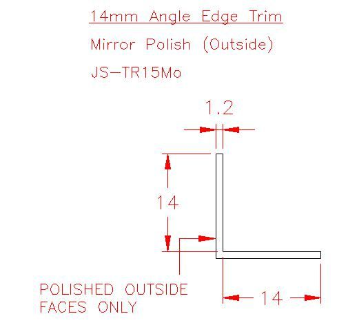 Angle Trim - Stainless Steel - Mirror Outside - 304 - JS-TR15Mo