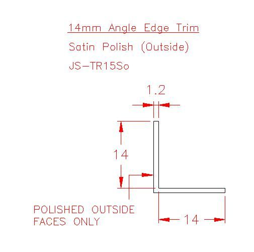 Angle Trim - Stainless Steel - Satin Outside - 304 - JS-TR15So