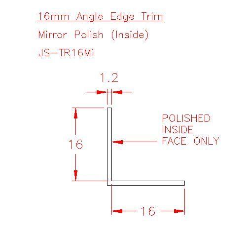 Angle Trim - Stainless Steel - Mirror Inside - 304 - JS-TR16Mi