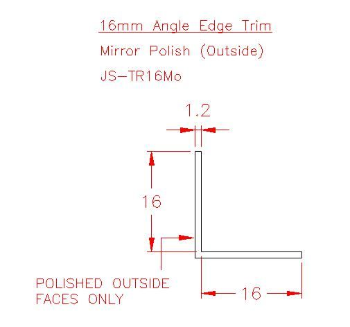 Angle Trim - Stainless Steel - Mirror Outside - 304 - JS-TR16Mo