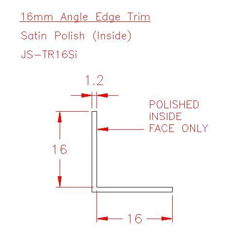 Angle Trim - Stainless Steel - Satin Inside - 304 - JS-TR16Si