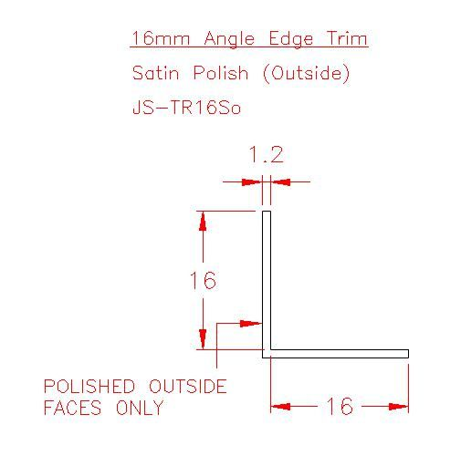 Angle Trim - Stainless Steel - Satin Outside - 304 - JS-TR16So