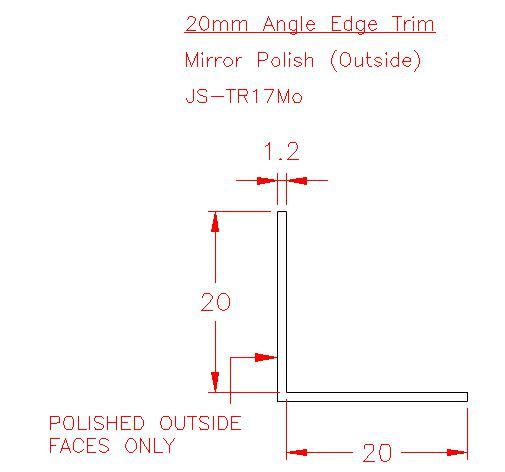 Angle Trim - Stainless Steel - Mirror Outside - 304 - JS-TR17Mo