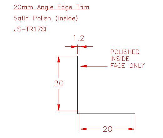 Angle Trim - Stainless Steel - Satin Inside - 304 - JS-TR17Si