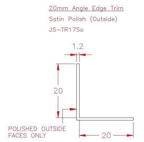 Angle Trim - Stainless Steel - Satin Outside - 304 - JS-TR17So