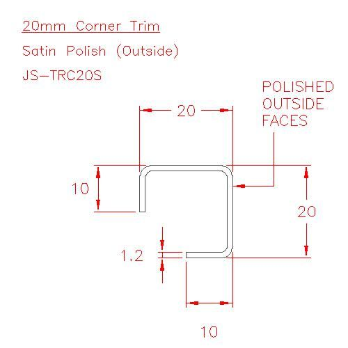 Corner Trim - Stainless Steel - Satin Outside - 304 - JS-TRC20S