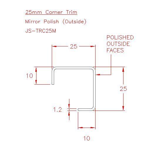 Corner Trim - Stainless Steel - Mirror Outside - 304 - JS-TRC25M