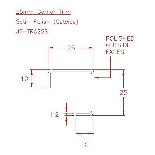 Corner Trim - Stainless Steel - Satin Outside - 304 - JS-TRC25S