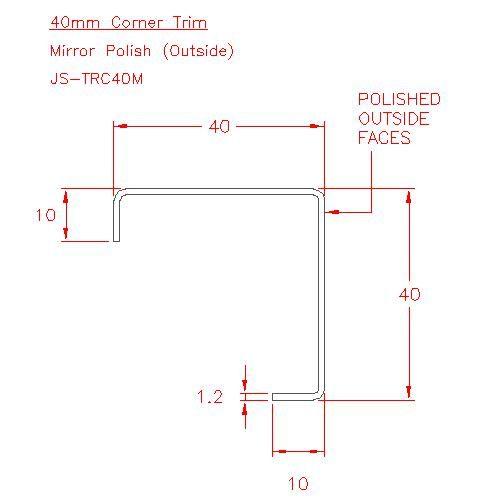 Corner Trim - Stainless Steel - Mirror Outside - 304 - JS-TRC40M