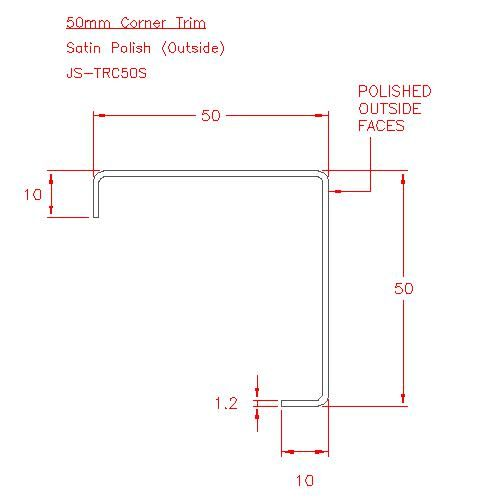 Corner Trim - Stainless Steel - Satin Outside - 304 - JS-TRC50S