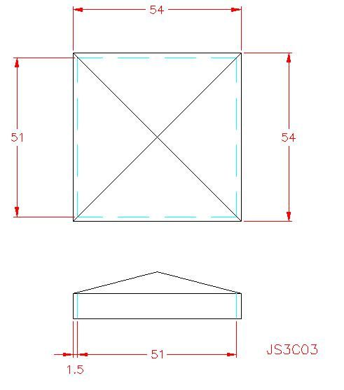 Square Post Cap - Stainless Steel - 304 - JS3C03