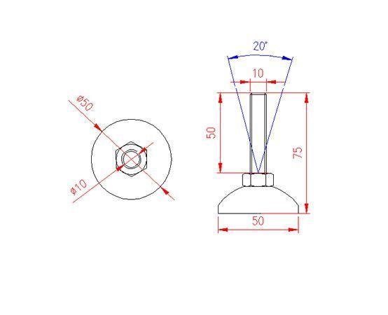 Adjustable Levelling Feet - Metal Base - Stainless Steel - 303 - JS3F49