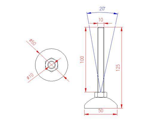 Adjustable Levelling Feet - Metal Base - Stainless Steel - 303 - JS3F50
