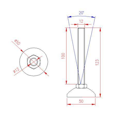 Adjustable Levelling Feet - Metal Base - Stainless Steel - 303 - JS3F51
