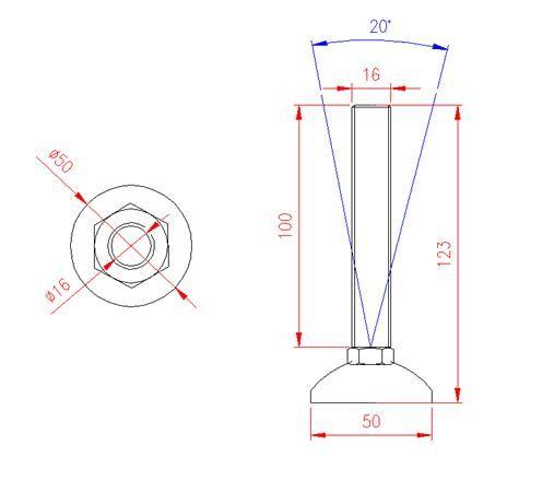 Adjustable Levelling Feet - Metal Base - Stainless Steel - 303 - JS3F53
