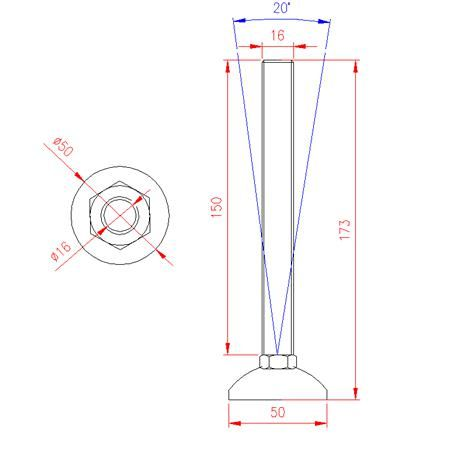 Adjustable Levelling Feet - Metal Base - Stainless Steel - 303 - JS3F54
