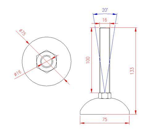 Adjustable Levelling Feet - Metal Base - Stainless Steel - 303 - JS3F55