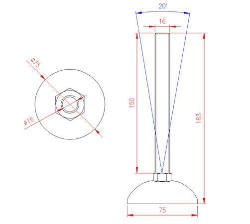 Adjustable Levelling Feet - Metal Base - Stainless Steel - 303 - JS3F56