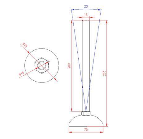 Adjustable Levelling Feet - Metal Base - Stainless Steel - 303 - JS3F57