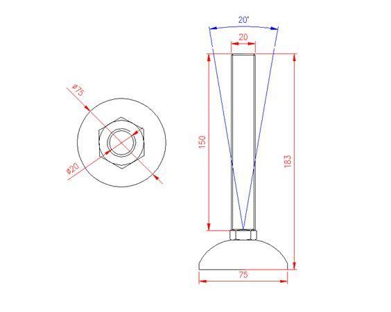 Adjustable Levelling Feet - Metal Base - Stainless Steel - 303 - JS3F58