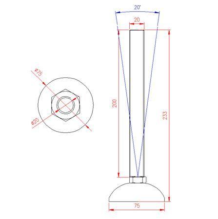 Adjustable Levelling Feet - Metal Base - Stainless Steel - 303 - JS3F59