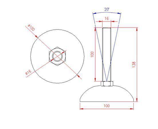 Adjustable Levelling Feet - Metal Base - Stainless Steel - 303 - JS3F60