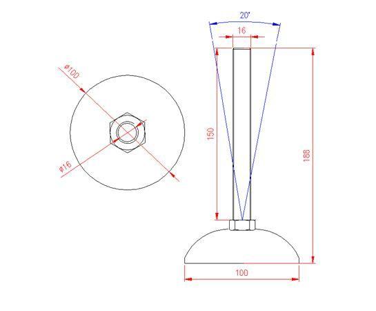 Adjustable Levelling Feet - Metal Base - Stainless Steel - 303 - JS3F61