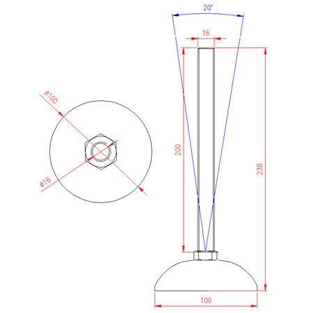 Adjustable Levelling Feet - Metal Base - Stainless Steel - 303 - JS3F62