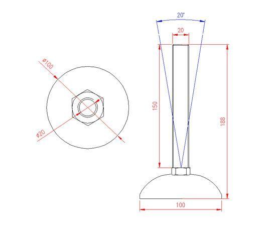 Adjustable Levelling Feet - Metal Base - Stainless Steel - 303 - JS3F63