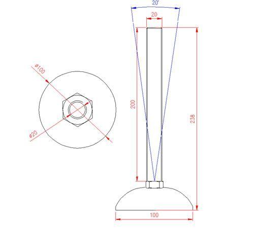 Adjustable Levelling Feet - Metal Base - Stainless Steel - 303 - JS3F64