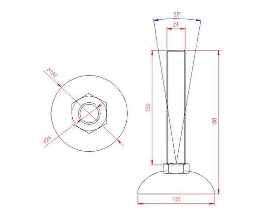 Adjustable Levelling Feet - Metal Base - Stainless Steel - 303 - JS3F65
