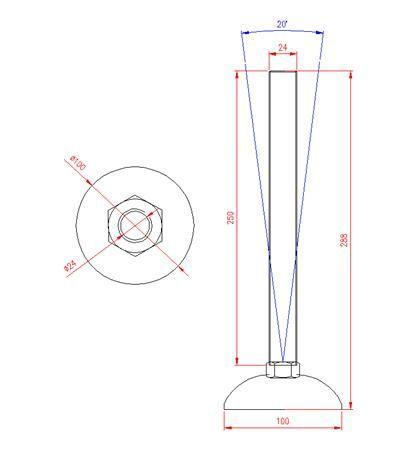 Adjustable Levelling Feet - Metal Base - Stainless Steel - 303 - JS3F66