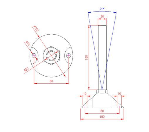 Adjustable Levelling Feet - Nylon Base with Holes - Stainless Steel - 303 - JS3F78