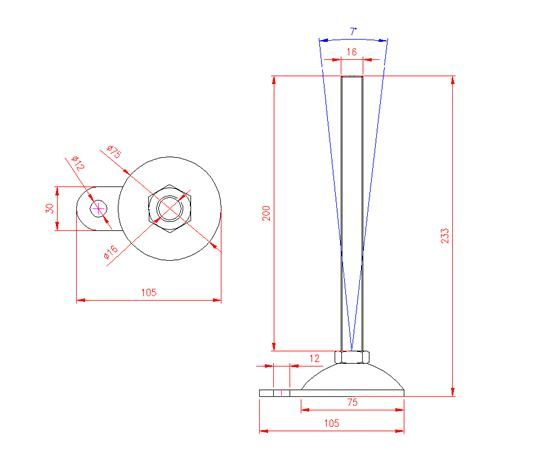 Adjustable Levelling Feet - Metal Base with Tab - Stainless Steel - 303 - JS3F83