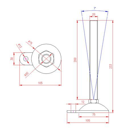 Adjustable Levelling Feet - Metal Base with Tab - Stainless Steel - 303 - JS3F85