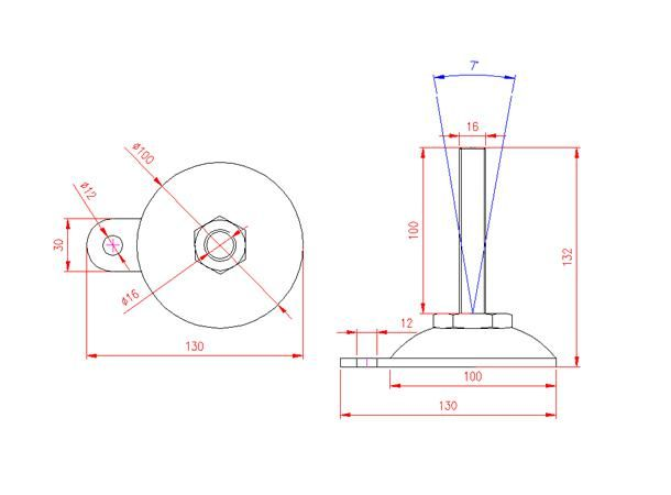 Adjustable Levelling Feet - Metal Base with Tab - Stainless Steel - 303 - JS3F86