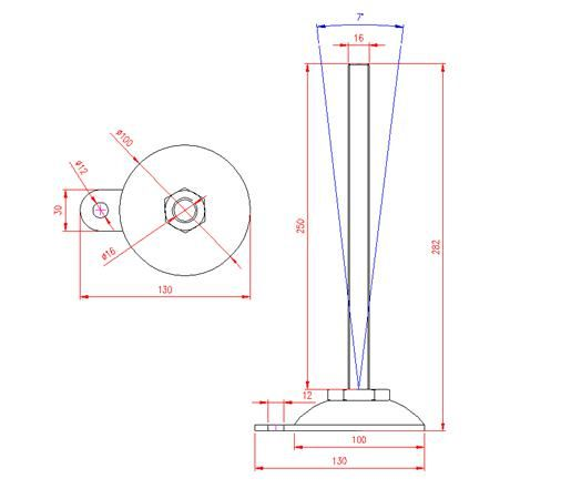 Adjustable Levelling Feet - Metal Base with Tab - Stainless Steel - 303 - JS3F88