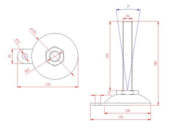 Adjustable Levelling Feet - Metal Base with Tab - Stainless Steel - 303 - JS3F89