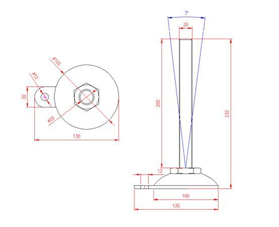 Adjustable Levelling Feet - Metal Base with Tab - Stainless Steel - 303 - JS3F90